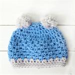 pom pom beanie | crochet | baby boy | blue grey