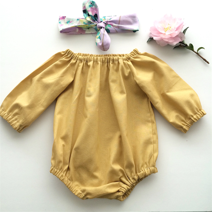 d70e131cf Mustard Long Sleeved Baby Girl romper and lilac floral topknot - girl, baby  | Bubby Makes Three | madeit.com.au