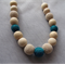 Organic Wood Bead Necklace/ Cream and Teal / Breastfeeding Necklace