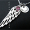 Angel wing necklace - Silver Angel wing and heart charm-Personalised Angel wing