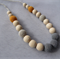 Organic Wood Bead Necklace/ Burnt Orange and Greys / Breastfeeding Necklace