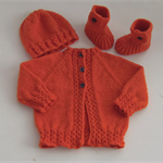 Hand Knit, Wool, Baby Jacket Cardigan,Booties & Beanie