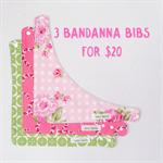 3 Pack Bandanna Bib - Dribble Bib - Girls - Retro