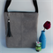 Grey Faux Leather Suede Cross body bag