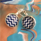 Navy and white chevron earrings.