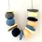 Peach, Vanilla, Blue & Grey Polymer Clay Necklace