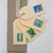 4 Vintage Stamp Gift Tags Blue/Green