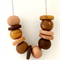 Brown, Gold & Natural Polymer Clay Necklace