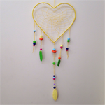 Dreamcatcher - Sunny yellow with rainbow bright polymer clay beads.