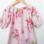 3/4 sleeved Smock - Vintage Roses - Pink - Dress - Green - Spots