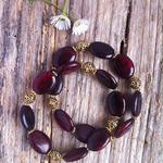 Wine Phoenix Stone & Antique Gold Tibetan Bead Bracelet Set