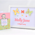 PERSONALISED New Baby Girl Gift Set - Butterfly Wall Art & Greeting Card