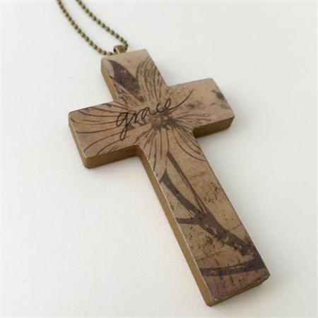 'Grace' Cross Pendant Mixed Media