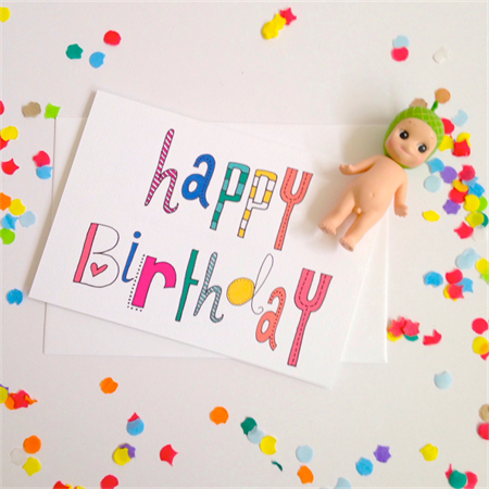 Happy Birthday Typography Card - Free Postage