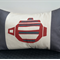 Cushion Cover - offwhite/charcoal/dk red with handprinted charcoal/dk red design