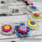Spotted Rainbow Flower Colourful - Buttons Necklace - Jewellery - Bonus Earrings