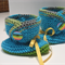 Acqua/green baby booties
