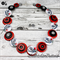 Vintage Cars - Red Black white- Button Necklace - Button Jewellery with Earrings