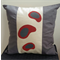 Cushion Cover - offwhite/dk red/charcoal with handprinted charcoal/dk red design