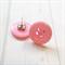 Pink Button Earring Studs - Simple Cute Jewellery Fun to Wear Women & Kids Child