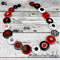 Specsavers - Red Black white- Button Necklace - Button Jewellery with Earrings