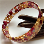 Rose Petals and Gold Leaf Resin Bangle.