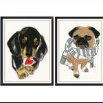 Nursery art Prints - Two Cute Doggies  A4 prints