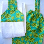 Hanging Tea Towel and Plastic Bag Holder Set - Green Floral, Christmas, Gift,