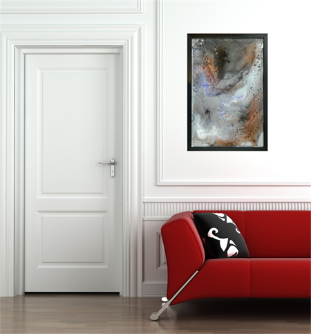 Resin On Glass Abstract Painting Galatic Empire 64cm X