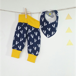 Set Fox baby pant  yellow blue navy and bandana bib  0-3month