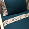 Handmade teal blue with animal trim 3 piece cot or toddler bed sheet set. Cotton