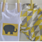 Singlet and nappy cover - elephant applique, jungle, unisex baby,geometrics
