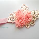Pink chiffon bling headband