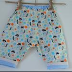 Newborn boys'winter reverse puffy pants pastels cotton corduroy raccoons apples