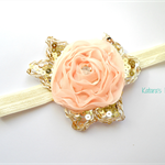 Peach chiffon flower stretch headband