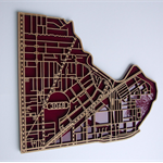 Nth Fitzroy / Clifton Hill 3068. Laser cut, suburb map  in MDF & tinted acrylic.