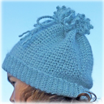 Crocheted mohair beanie hat that doubles as a cowl/scarf