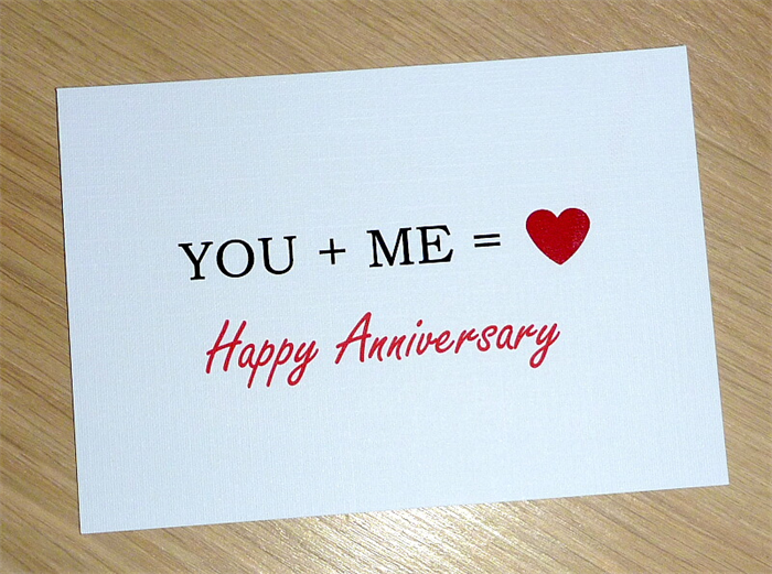 Happy Anniversary Card   You + Me U003d Love