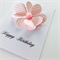 Heart petals for her happy birthday pink gingham & resin flower card