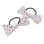 Ponytail Hair Bows Purple Flowers