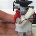 Felt Mouse Miniature Graduation -  Mousy - Student University College
