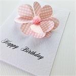 Heart petals for her happy birthday pink gingham flower friend daughter card