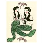 Set of 3 Mermaid Art Prints - Crustacean Cafe, Goldfish Gardens and Just a trim