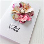 Beautiful stylish heart petals happy birthday with rose gold & resin flower card