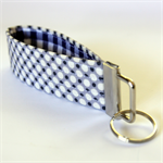 Wrist Key Fob - Polka dots on grey with navy blue check