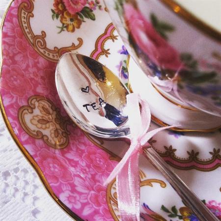 Hand stamped vintage demi teaspoon (Love Tea)