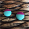 Under the Sea - 15mm Handmade Aqua and Purple Fabric Covered Button Earring