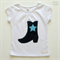 Girl's White T-shirt with Denim Cowgirl Boot Applique - Size 1