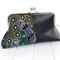 Clutch Purse in Green Aboriginal Fabric & Faux Leather