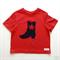 Boy's Red T-shirt with Denim Cowboy Boot Applique - Size 1